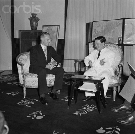 23 Oct 1961, Saigon, South Vietnam --- General Maxwell Taylor, special military advisor for President Kennedy meets with South Vietnam President Ngo Dinh Diem in Saigon on October 23, 1961. --- Image by © Bettmann/CORBIS